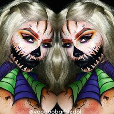 Halloween Queen | IG @voodoobarbiedoll YOUTUBE www.youtube.com/SydneyNicoleTheCatsMeow | Halloween makeup, Halloween Inspiration, Halloween Makeup Ideas, Pumpkin Makeup, Pumpkins, Spiderweb, Spiderweb Makeup, Creepy Makeup, Horror Makeup, Scary Mouth Makeup, Cut Crease, Glam Makeup, Orange Eyebrows, SFX, SFX Makeup, Special Effects Makeup, Bodypaint, Makeup, Cat Eye