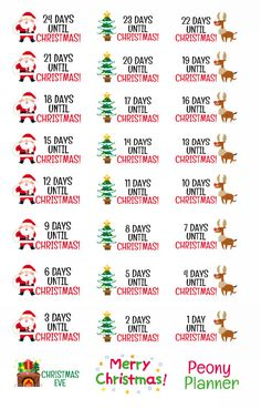 Christmas Countdown Planner Stickers by PeonyPlanner on Etsy