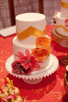 orange and pink wedding cake by Hey There, Cupcake! // photo by SundayRomance.com