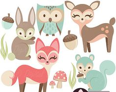 Woodland Nursery Clipart, Baby Animals Clip Art, Forest Friends Baby Shower, Fox, Owl, Rabbit & more!