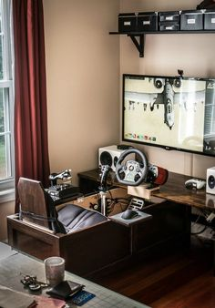Awesome Video Game Room Ideas for Small Rooms Video game room ideas for game lovers, diy funny setup gaming desk boys organization Home Office, Deco Gamer, Gaming Desk Setup, Pc Desk, Video Game Rooms, Game Room Design, Game Room Decor, Gamer Room, Office Setup