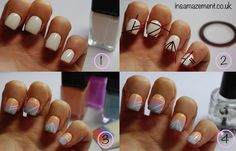 Tutorial for this sunset ombre and aztec nail art