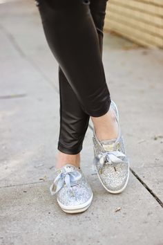 Kelly Elizabeth Style: Cable Knit and Faux Leather - faux leather leggings: Hue; silver glitter shoes: Kate Spade for Keds