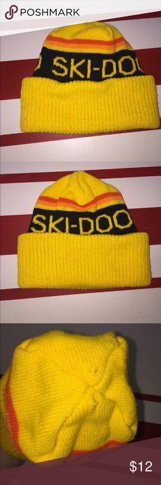 4ef32cbeec1 Vintage Ski Doo Winter Beanie Hat Vintage Ski Doo Winter Beanie Hat. A few  snags