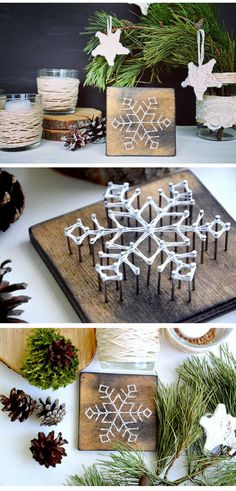 Pretty snowflake string art on a wood base #snowflake #stringart #winterdecor #christmasdecor #commissionlink