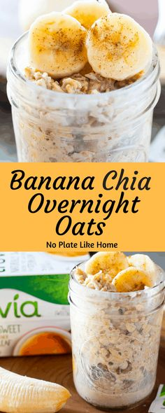 Banana Chia Overnight Oats are a great way to start off the day. With only a couple min prep, you'll have a filling breakfast with natural sweetness. Eat better this year! Pin for later. Mason Jar Breakfast, Chia Breakfast, Healthy Breakfast Casserole, Breakfast Plate, Breakfast Recipes, Mexican Breakfast, Breakfast Sandwiches, Breakfast Pizza, Breakfast Cookies
