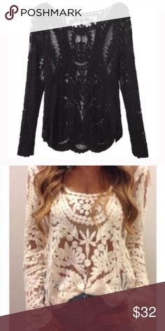 Lace Top🎀 Gorgeous Long Sleeve Lace Top that's Loose fitting! Sexy and Super Comfy!  Wear a Bralette or tank underneath and  Pair with your favorite jeans and heels and your outfit will look Stunning! Black and Ivory available🎀 Discounts on a Bundle Tops Blouses