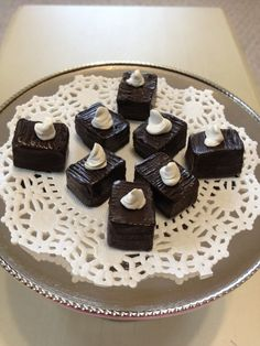 8 brownies with white whipped cream set by QueenEmmaDesigns, $4.00  fits American Girl Doll food