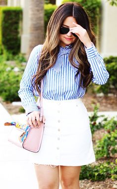 #spring #outfits Striped Shirt & White Skirt