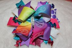 Colorful Peace Sign Boutique Stacked Hair Bow by BellaKumariBows, $13.00