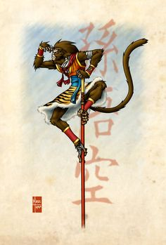 This is an upgrade of the Monkey King art I posted long time ago. Monkey Art, Monkey King, Japanese Monkey, Japanese Art, Character Art, Character Design, Monkey Tattoos, King Tattoos, Journey To The West