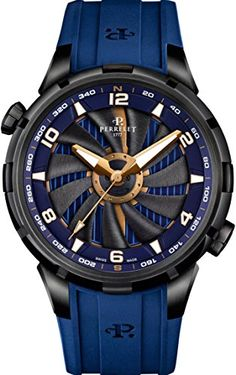Perrelet Blue Turbine Yacht Gold Accents 47mm Men's Watch Model A1088/1
