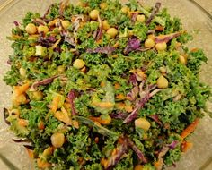 Kale Salad with Maple-Mustard Dressing from our November VegCookbook, Forks Over Knives ~ The Cookbook