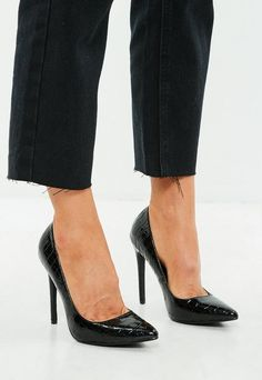 55b83035553 Missguided Black Patent Court Shoes. Missguided Black Pointed Heel Croc  Pumps Black Pumps Outfit