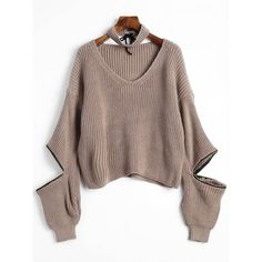 Khaki ONE SIZE Dropped Shoulder Zip Embellished Sweater with Choker ($17) ❤ liked on Polyvore featuring tops, sweaters, zip sweater, zip top, zipper top, brown top and drop shoulder sweater
