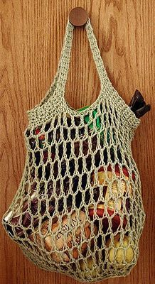Crochet grocery bag - I just made a similar one that I found at http://www.ravelry.com/patterns/library/crochet-grocery-bag. It took only a couple hours and turned out great!