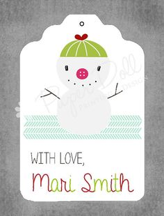 Christmas Gift Tags  Snowman with Love  Set by PaperDollPrinting