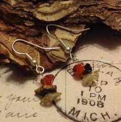 Autumn leaf semi precious earrings £6.00 plus p&p