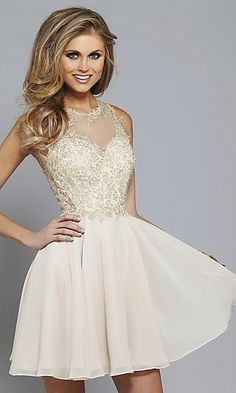 Faviana Lace-Embroidered Applique Short Prom Dress