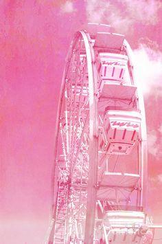 Pink Carnival Ferris Wheel Photo, Dreamy Baby Pink Carnival Art, Baby Girl…