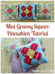 Make a mini granny square pincushion for your sewing swap and keep one for yourself! These are too cute to pass up. Tutorial by http://AuntieEmsCrafts.com.