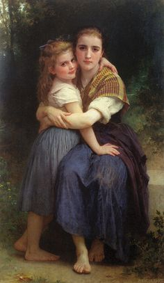 Les deux soeurs by William Adolphe Bouguereau Classic Paintings, Old Paintings, Paintings I Love, Beautiful Paintings, William Adolphe Bouguereau, Victorian Paintings, Victorian Art, Academic Art, Classical Art