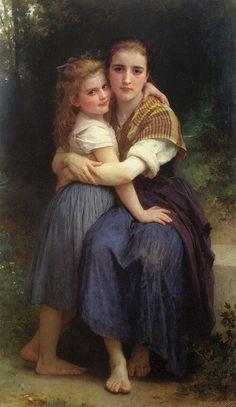 Les deux soeurs by William Adolphe Bouguereau Classic Paintings, Old Paintings, Paintings I Love, Beautiful Paintings, William Adolphe Bouguereau, Victorian Paintings, Victorian Art, Munier, Academic Art