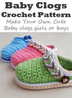 Learn how to make these cute baby clogs great for a boy or girl. crochet patterns - Make some adorable baby shoes today! Learn how to make these cute baby clogs great for a boy or girl. crochet patterns - Make some adorable baby shoes today! Crochet Shoes Pattern, Baby Shoes Pattern, Baby Patterns, Crochet Patterns, Doll Patterns, Crochet Gifts, Cute Crochet, Crochet For Kids, Learn Crochet
