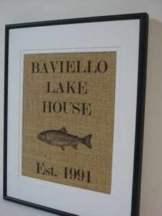 Personalized Lake House Sign on natural burlap cottage lake house cottage decor. $20.00, via Etsy.