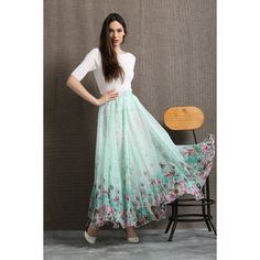 Turquoise Chiffon Skirt Elegant Long Floral Summer Party Skirt With... (78 AUD) ❤ liked on Polyvore featuring skirts, grey, women's clothing, long maxi skirts, long summer skirts, gray maxi skirt, long floral skirts and plus size skirts