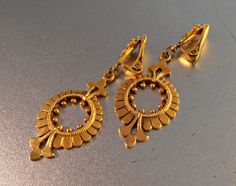 Victorian Revival Earrings Etruscan Dangle Clip On