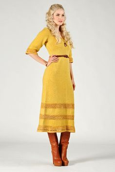1970s Mustard Wool Crochet Dress