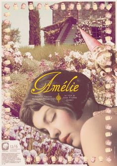 I love this vintage-looking poster of Amelie Poulain /Audrey Tautou Amelie, Audrey Tautou, Minimal Movie Posters, Minimal Poster, Beautiful Film, Destin, Alternative Movie Posters, Movie Poster Art, Music Film