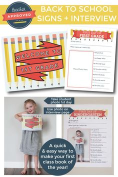 Free Welcome to School signs and a questionnaire make a quick and easy first class book of the year!