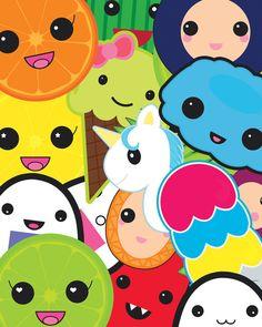 Kawaii Party Collage Art Print.
