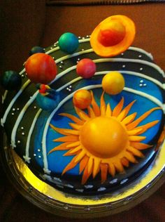 birthday cake that looks like planets - Bing images Fancy Cakes, Cute Cakes, Beautiful Cakes, Amazing Cakes, Solar System Cake, Planet Cake, Galaxy Cake, Novelty Cakes, Occasion Cakes