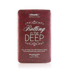 You can have it all with Rolling in the Deep. For a passionate clean, reach for moisturizing hemp seed, sunflower seed oil, and glycerin with a sultry sandalwood, palo santo, and light amber citrus fragrance. Lather up with this Chunk in your daily bath or shower to go deep and play it to the beat.
