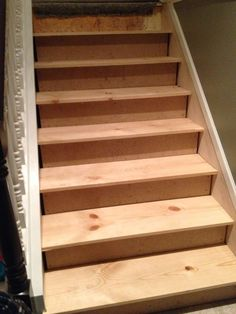 cut a stair skirt and fit the new stair treads, The Serene Swede on Remodelaholic Replacing Stair Treads, Pine Stair Treads, Stair Risers, Stair Railing, Laminate Stairs, Hardwood Stairs, Stair Treds, Redo Stairs, Basement Stairs