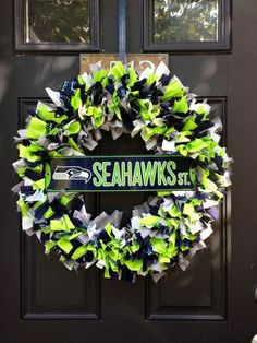 Show your team pride with this 16 fabric wreath. Its handmade using 5 different types of fabric. Navy, Green, White, Gray, and - Picmia Seattle Seahawks, Seahawks Gear, Seahawks Fans, Seahawks Football, Broncos, Football Crafts, Nfl, Different Types Of Fabric, Fabric Wreath