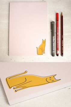 A cute pink notebad featuring a yellow cat, perfect for notes to your cat loving friends. A nice notepad is a handy thing to have, they make a shopping list feel more special and are great for messages to people when the back of a receipt won't cut it. Cat Lover Gifts, Cat Gifts, Cat Lovers, List Maker, Stationary Supplies, Yellow Cat, Cat People, Sticky Notes, Cute Pink