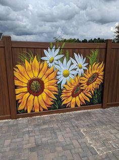 Garden Fence Art, Garden Mural, Garden Yard Ideas, Flower Mural, Sunflower Art, Mural Wall Art, Yard Art, Diy Art, Canvas Art