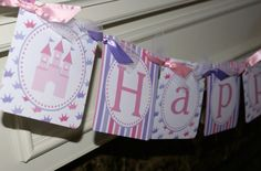NEW...Princess Castle Happy Birthday Banner, Castle Birthday Banner, Princess Birthday Banner (Pink & Lavender) by The Party Paper Fairy