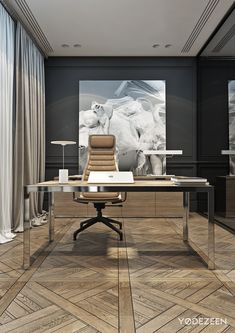50 modern home office designs. A home office might not get a lot of non-work related use but just because you have to work in there doesn't' . Office Space Decor, Home Office Lighting, Office Setup, Office Workspace, Office Table, Office Interior Design, Office Interiors, Office Designs, Office Ideas