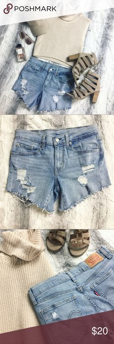 Levi's • Custom Distressed Cutoff Shorts Selling these custom Levi's cut off shorts. Super cute and perfect for the summer time ☀️ Every girl should own a pair of cut off Levi's, their super sexy and iconic. These give off an effortless cool vibe 😎 Great condition!! Levi's Shorts Jean Shorts