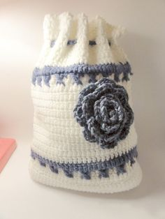 Hand Crocheted Backpack With Flower   Boho  on Etsy, $25.00