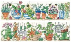 Herb Garden & Potting Shed Set of 2 cross stitch kits by Heritage Crafts