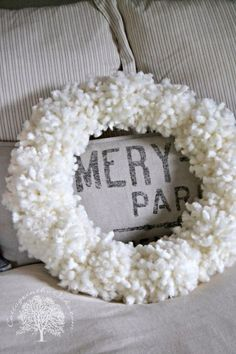 Inspired by Anthropologie's Wool Tufted Wreath….we did out own wreath DIY! Here's the how-to make this terrific Tufted Wool Wreath! Wreath Crafts, Diy Wreath, Diy Crafts, Wreath Ideas, All Things Christmas, Winter Christmas, Christmas Ideas, Xmas, Outdoor Christmas