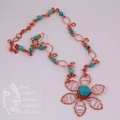 Copper Wire Crafts | Hammered Copper Wire and Turquoise Bead Flower Necklace | Jewellery By ...