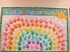 Spring Bulletin Board using the children's hands to create a Rainbow of our own!