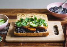 Black Bean, Cucumber and Sweet Potato Sandwich with Spicy Vegan Mayo
